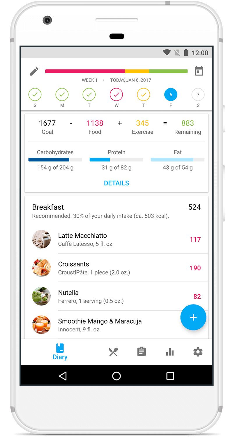 Free Calorie Counter App for your Android - YAZIO