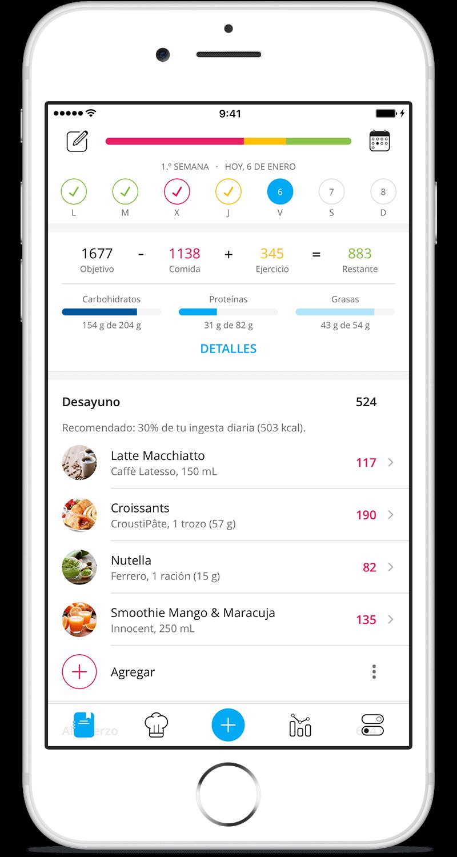 YAZIO app contador de calorías