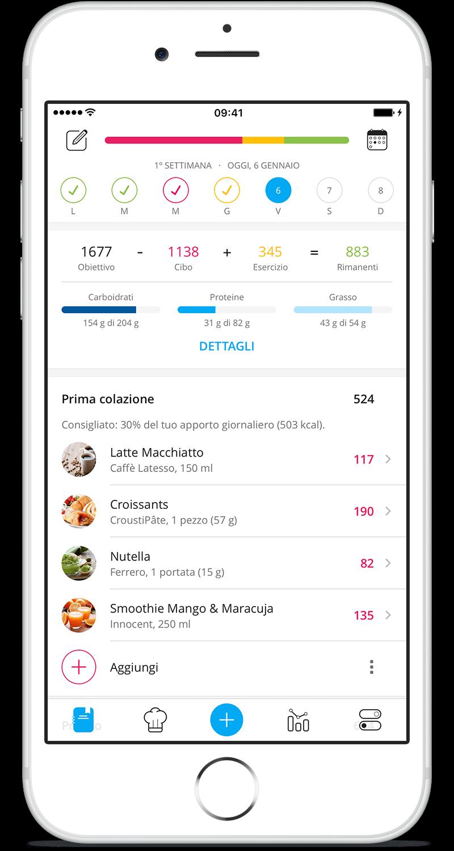 App YAZIO diario alimentare