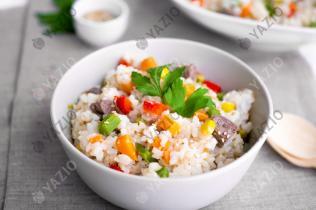Plat de riz, bœuf & légumes